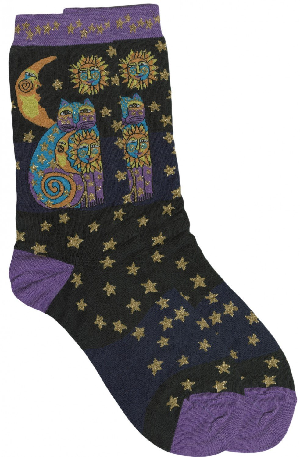Laurel Burch Socks Celestial Cat Black