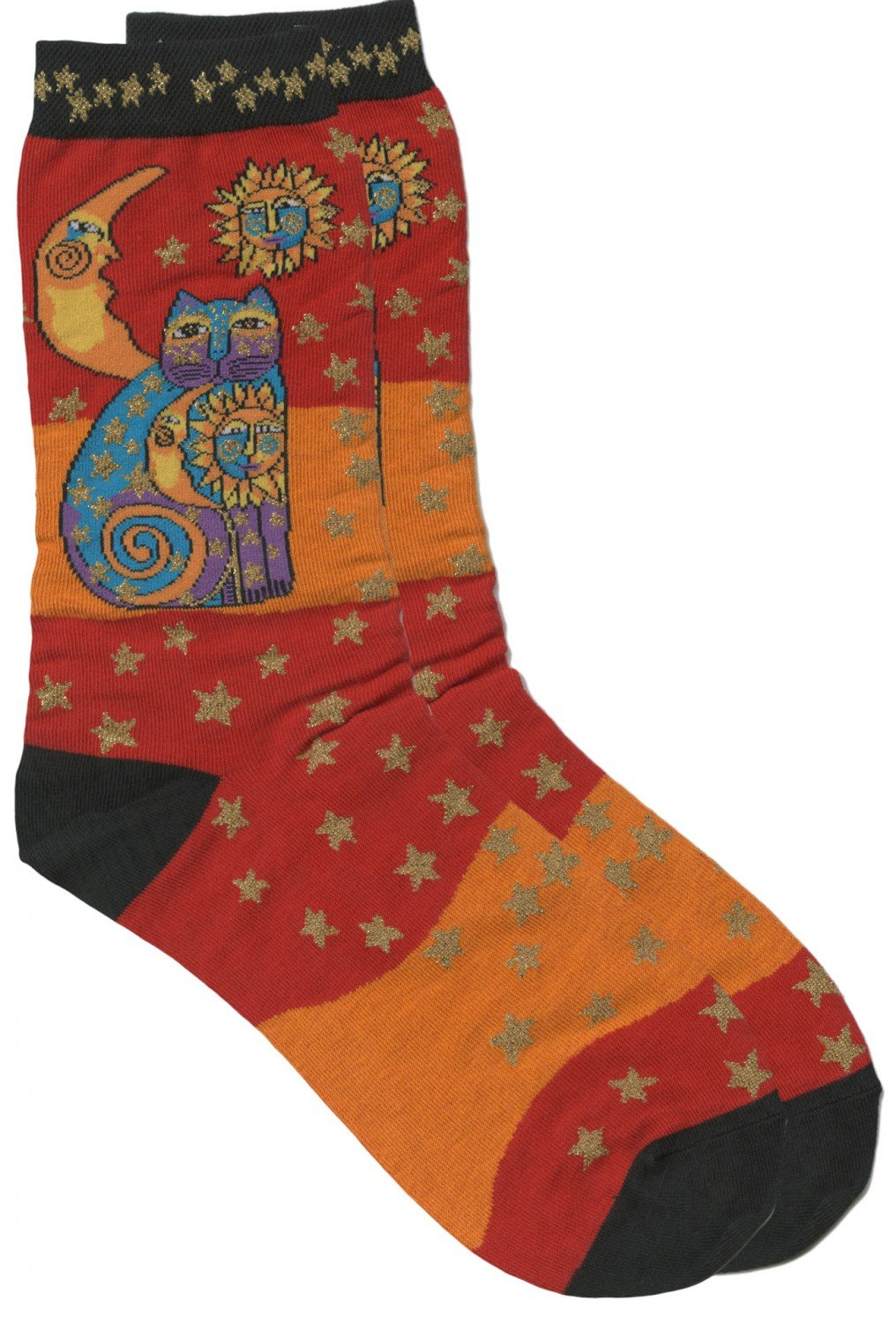 Laurel Burch Socks Celestial Cat Orange