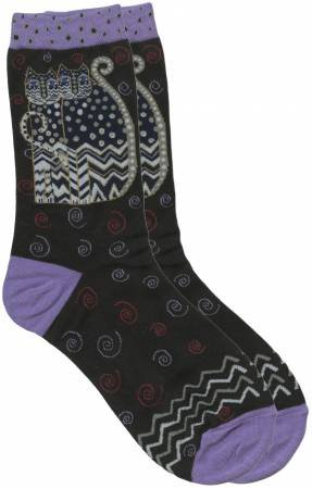 Laurel Burch Socks Lt. Purple On Black Polka Dot Cats Kitty Cat Woman's Socks