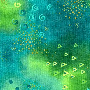 Laurel Burch Aqua Green Metallic Gold Cotton Quilting Fabric Y0808-102M