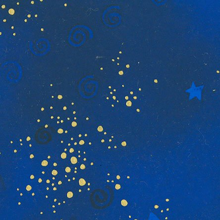 Laurel Burch Royal Blue Basic Star Dot Metallic Gold Cotton Fabric Y0808-31M