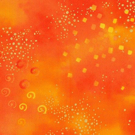 Laurel Burch Orange Star Metallic Gold Cotton Quilting Fabric Y0808-37M