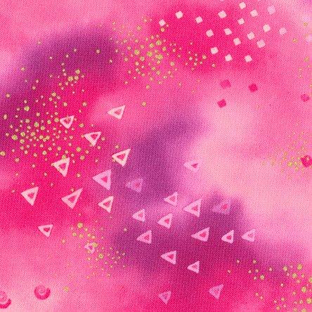 Laurel Burch Pink Raspberry Star Metallic Gold Cotton Quilting Fabric Y0808-43M