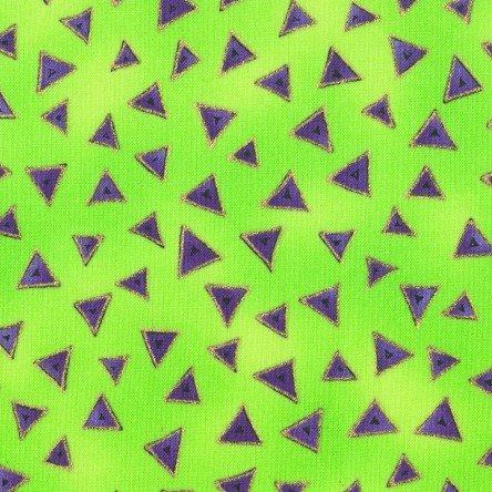 Laurel Burch Lime Green Purple Triangle Basics Cotton Fabric