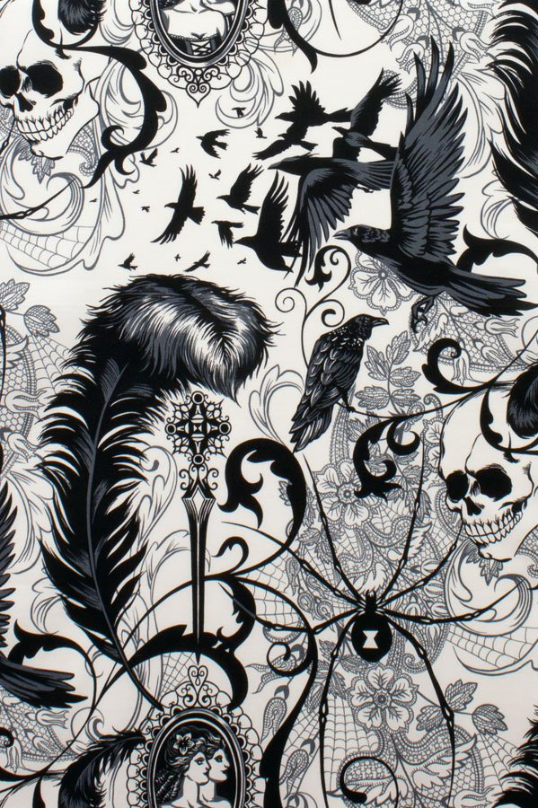 Alexander Henry After Dark Skulls Birds Spider On Natural Cotton Fabric