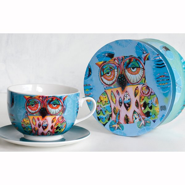 Allen designs Owl Cup and Saucer With Round Box