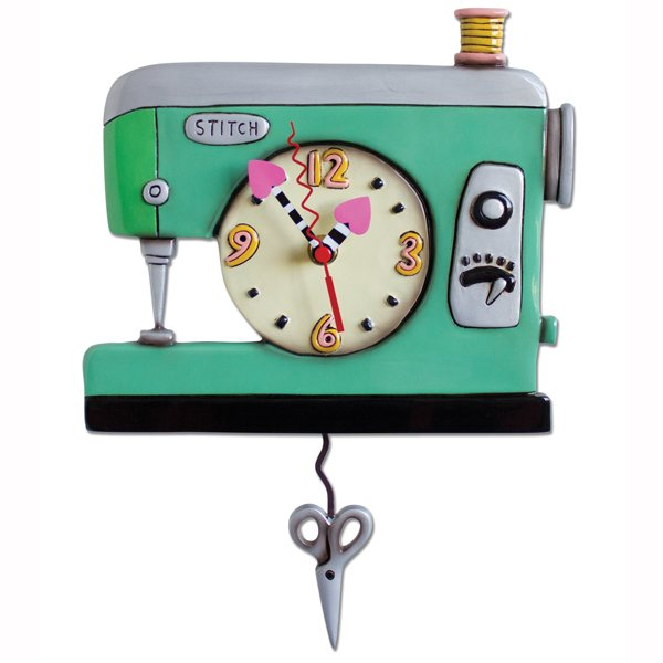 Allen Designs Stitch Sewing Machine Green Clock