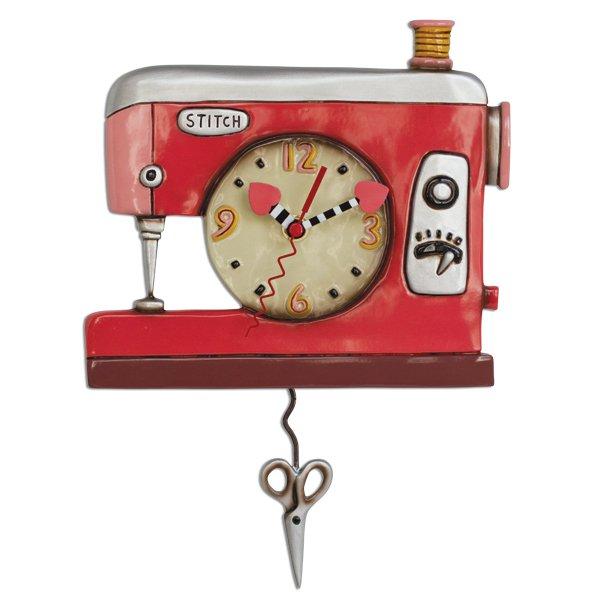Allen designs Double Stitch Sewing Machine Clock Pink