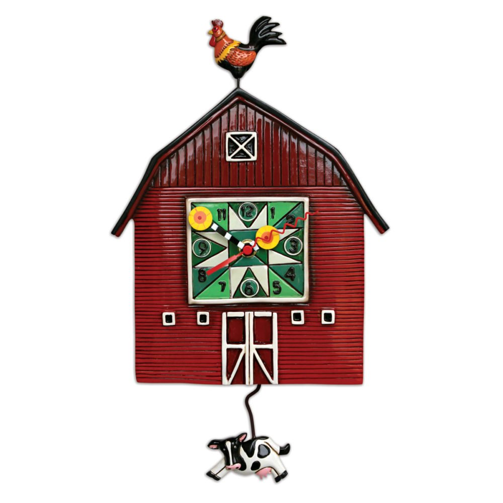 Allen designs Barn Yard Barn Cow Pendulum Clock