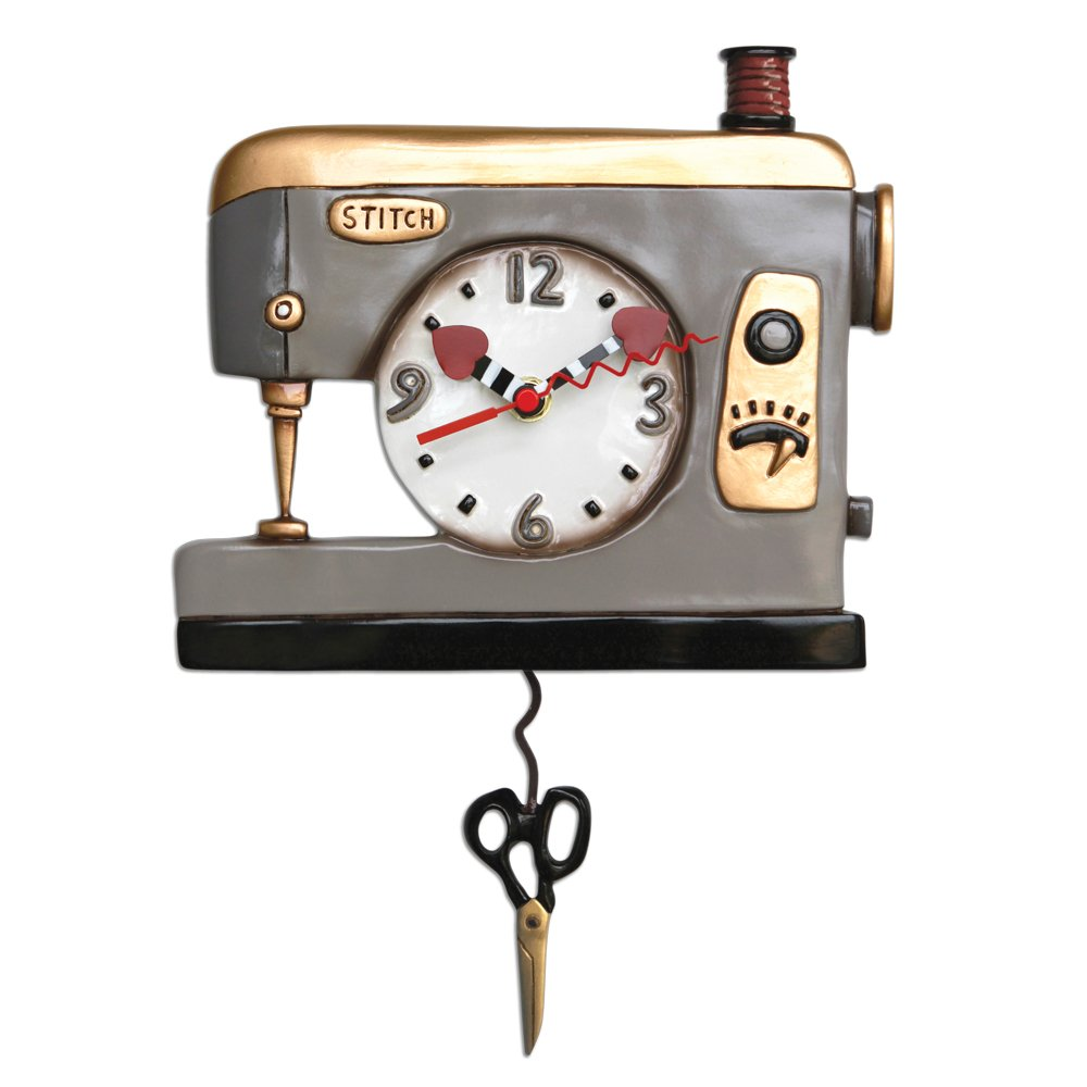 Allen Designs Sewing Machine Back Stitch Pendulum Grey Clock