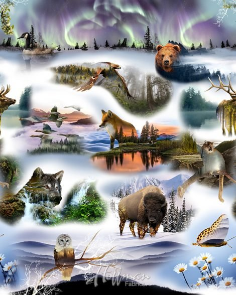 Hoffman Call Of The Wild Pristine Wilderness Forest Animals Cotton Fabric