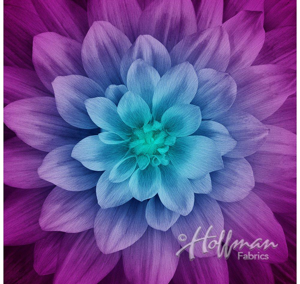 Hoffman Fabrics Dream Big Aurora Flower Bloom Floral Panel
