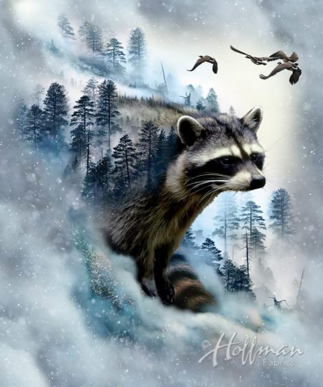 Hoffman Call Of The Wild Raccoon Ice Panel Cotton Fabric