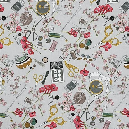 Alexander Henry A Ghastlie Notion Ghastly Color Grey Cotton Fabric