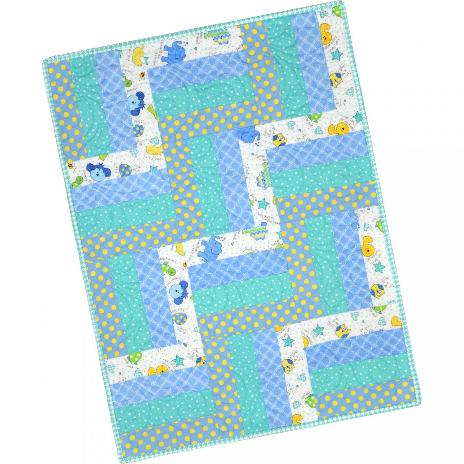 Maywood Studio Pods Easy Peasy Precut Kit Little One Blue Kids Flannel Quilt Kit