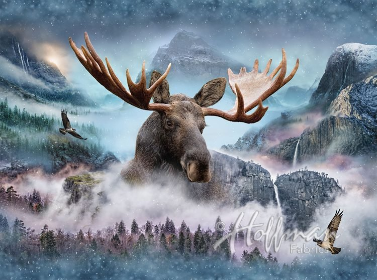 Hoffman Call Of The Wild Moose Waterfall Panel Cotton Fabric