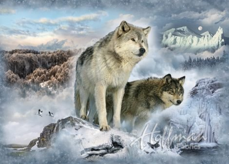 Hoffman Call Of The Wild Wolves Wolf Glacier Panel Cotton Fabric