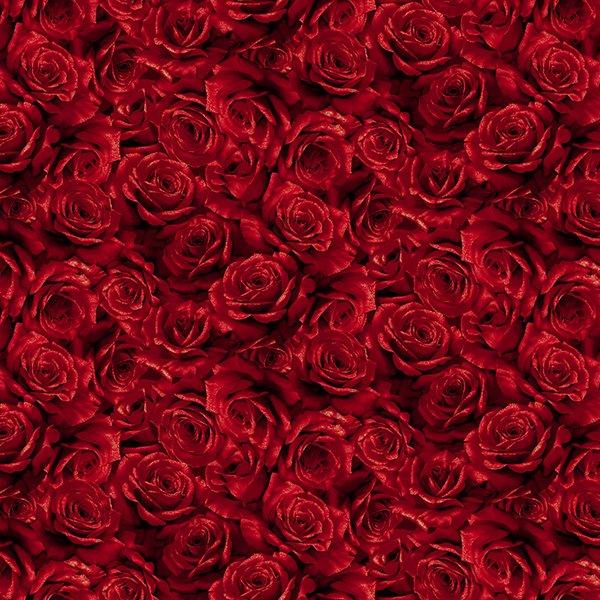 Hoffman Cardinal Red & Metallic Gold Roses 100% Cotton Fabric