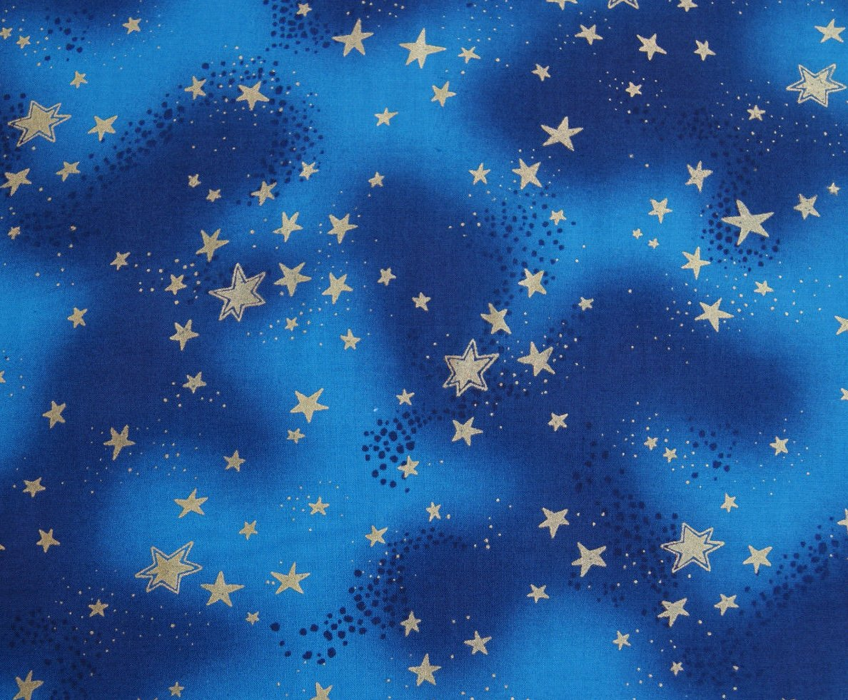 Laurel Burch Enchantment Christmas Gold Star Blue Cotton Quilting Fabric