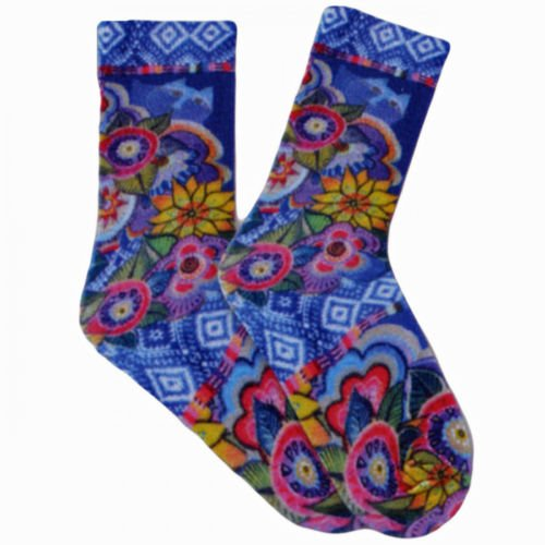 Laurel Burch Bright Colorful Kitty Cat With Flowers Woman's Socks