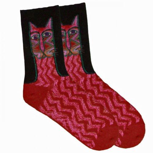 Laurel Burch Sock Red Tribal Zig Zag Kitty Cat Woman's Socks