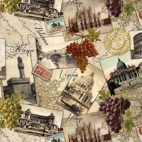 Elizabeth's Studio Italian Vineyard Italy Wine Patchwork Cotton Fabric