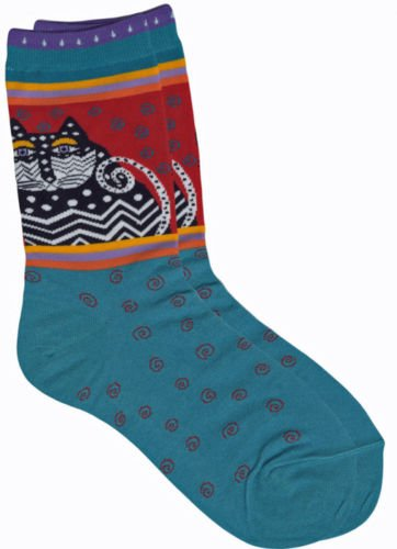 Laurel Burch Red And Turquoise Polka Dot Cats Kitty Cat Socks