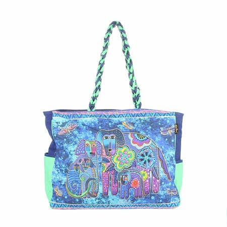 Laurel Burch Dog Canine Family Over Sized Tote Bag
