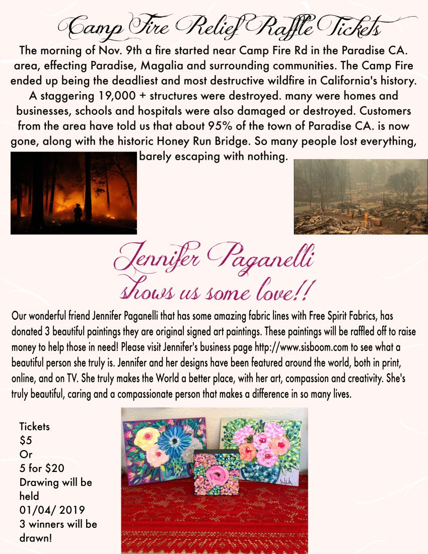 Camp Fire Relief Raffle Tickets For Jennifer Paganelli Paintings