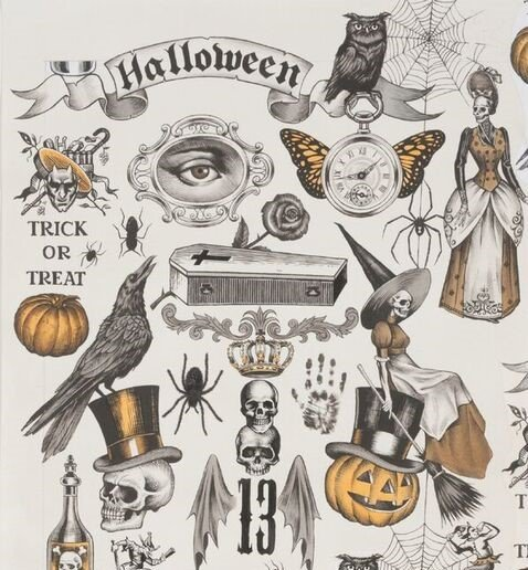Alexander Henry Halloween Trickery Tea/Orange Quilting Fabric