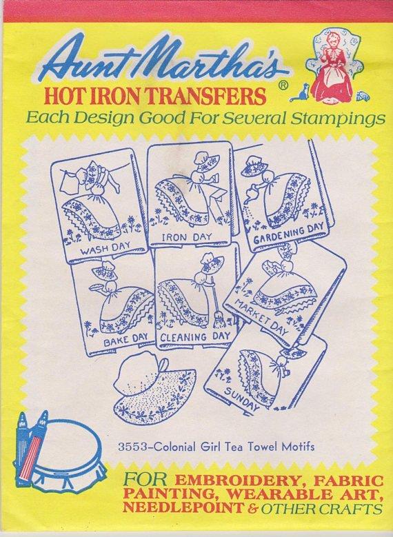 3553 Colonial Girl Tea Towel Motifs Red