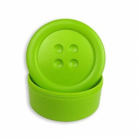 Button Shaped Storage Box Small 3-1/4in Diameter Lime