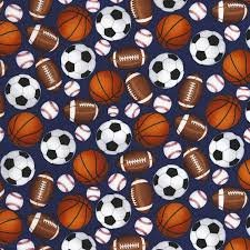 Blue Baseballs Basketballs Footballs