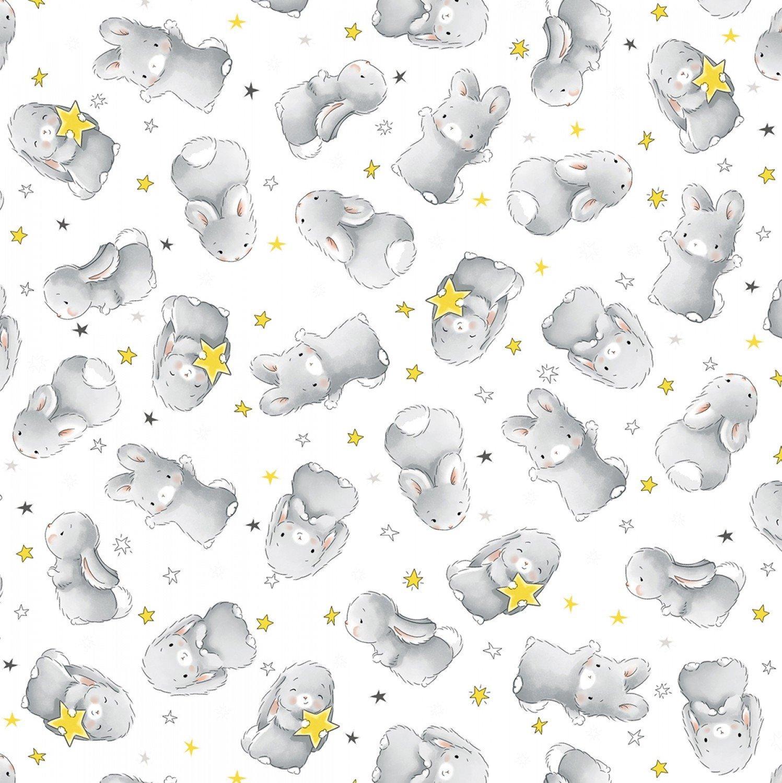 Bunnies White Flannel