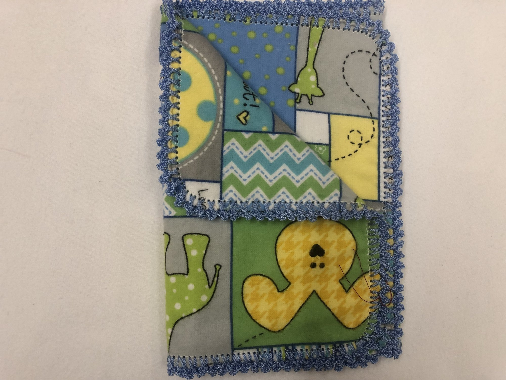 Colorful animal and chevron crocheted burp cloth