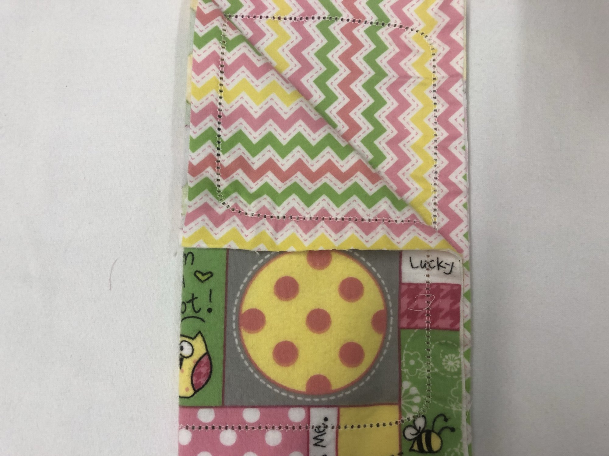 Colorful animals and pattern/pink, yellow, and green chevron burp