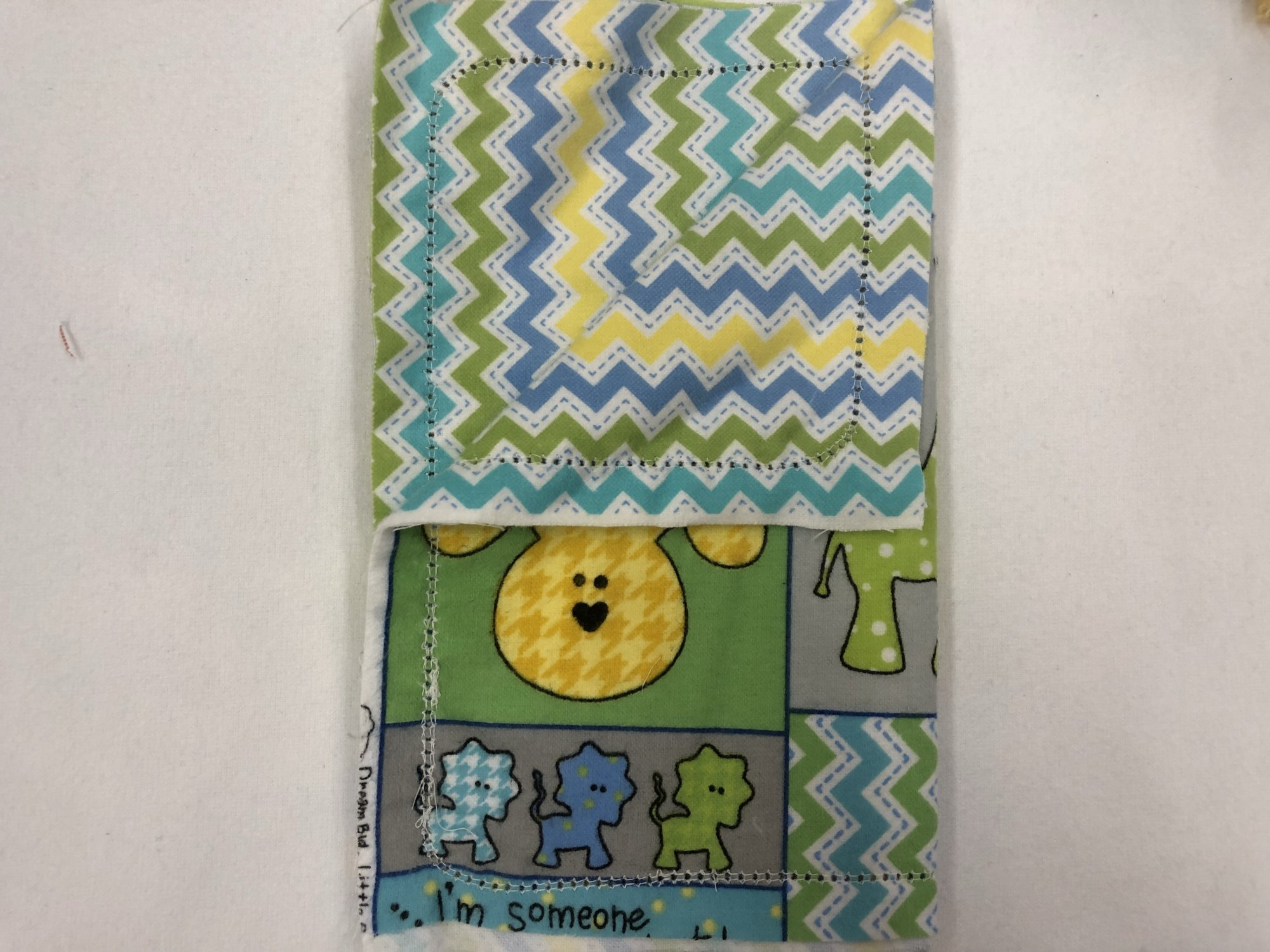 Colorful animals and patterns/Blue,yellow,and green chevron burp