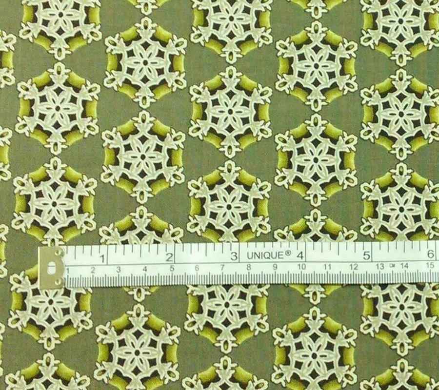Grey/Green Snowflake Fabric