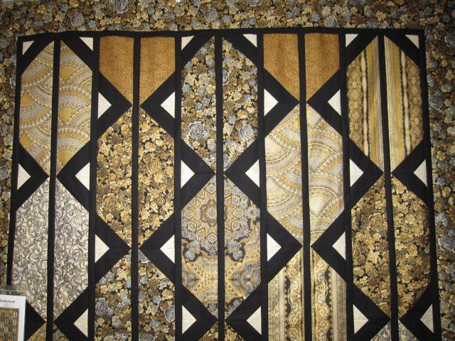 72 x 93 Quilt Top in black & gold