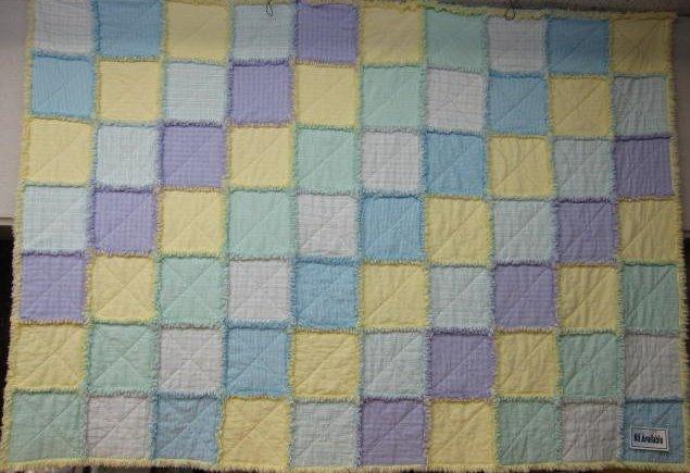 46 x 64 Pastel Flannel Rag Quilt