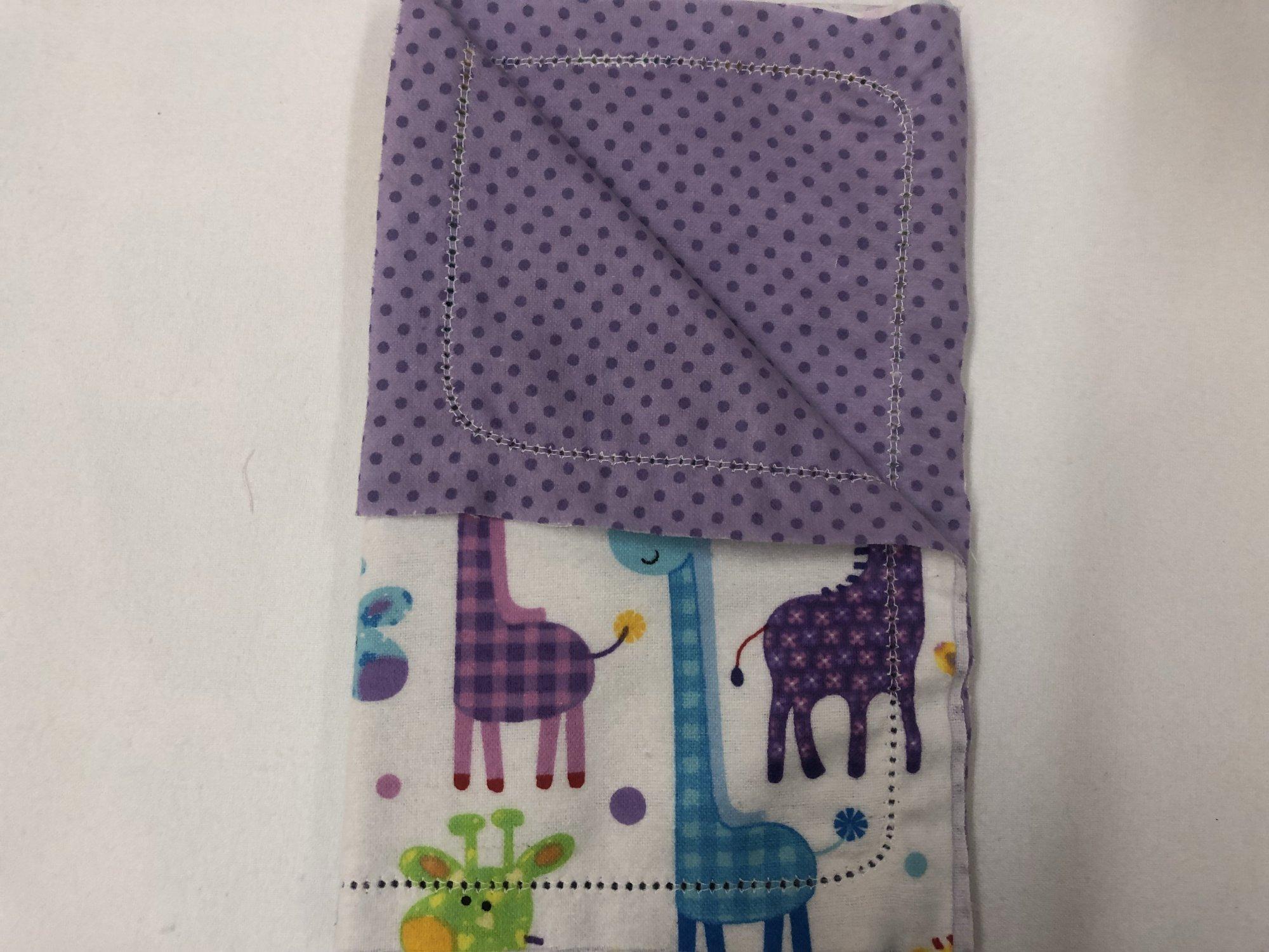 Multi-color Giraffe's on white background/Dark purple dots on light purple background burp