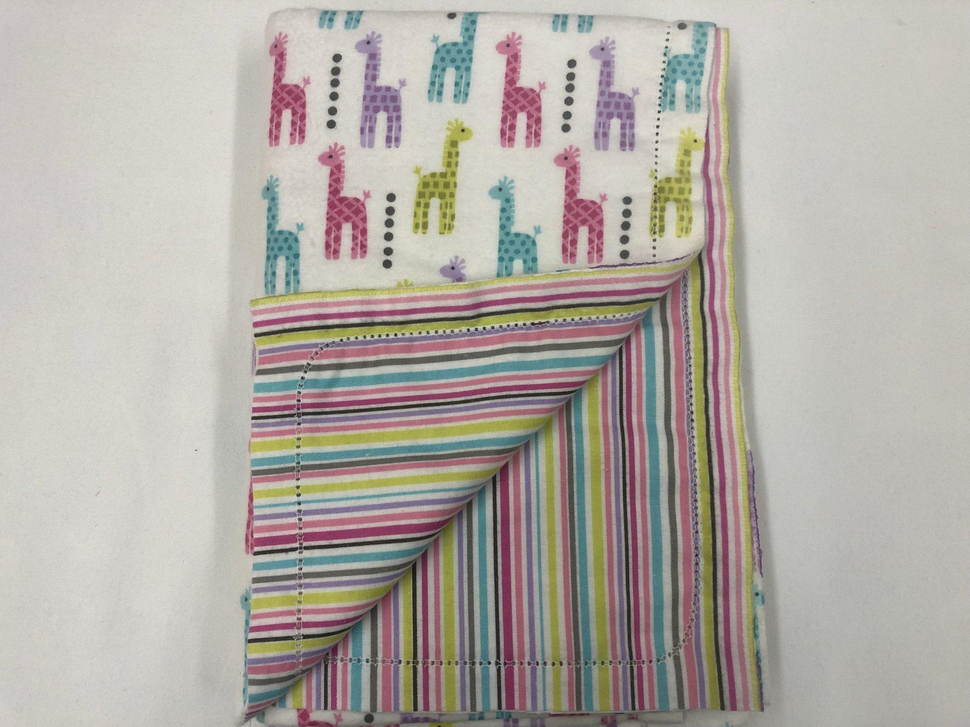 Multi-color giraffe's on white background/multi-color stripes