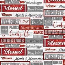 Holiday Homestead Red Gray Words