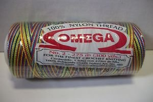 Omega 100% #54 Nylon Crochet Thread variegated blue, green, yellow, and red
