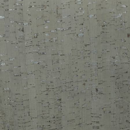 Taupe w/Silver Metallic Cork Fabric 25in Wide, thickness 0.45MM-0.5MM