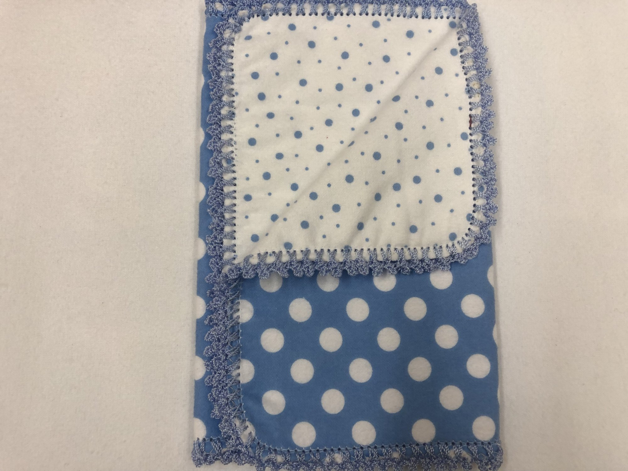 White dots on blue background/Blue dots on white background crocheted burp cloth