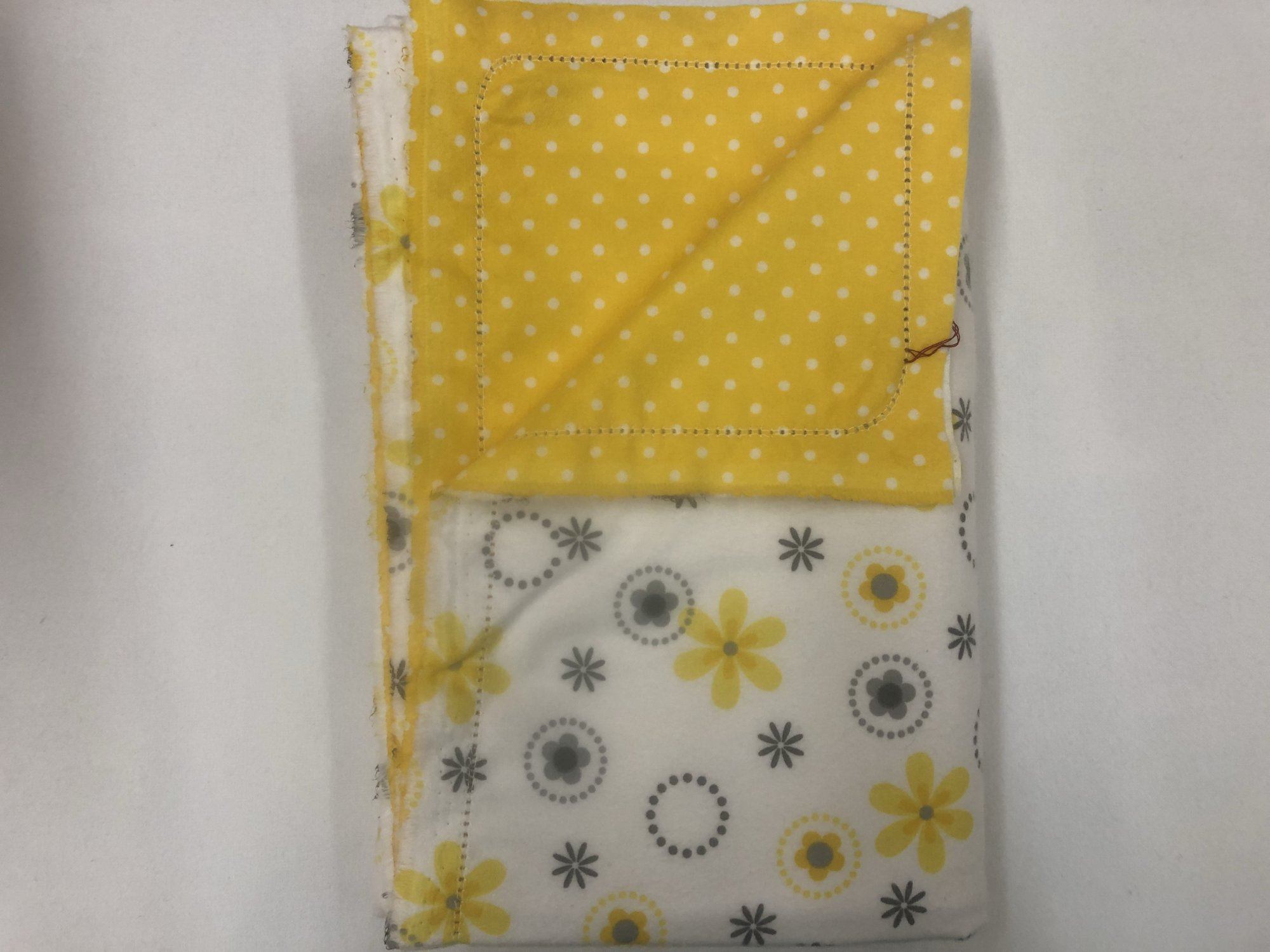Yellow And Grey Flowers On White Backgroundwhite Polka Dots With