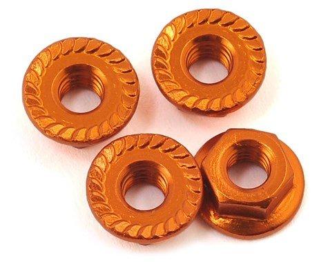 Alum 4mm Serrated Wheel Nuts (Orange)
