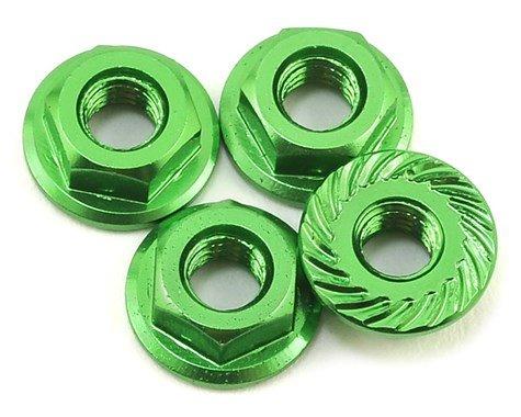 Alum 4mm Serrated Wheel Nuts (Green)