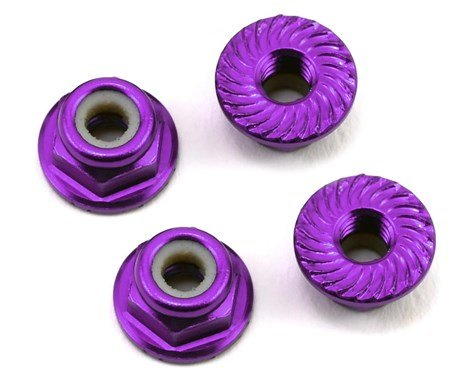 Alum 4mm Serrated Wheel Nuts (Purple)